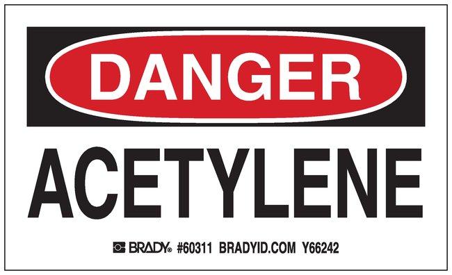 Brady Gas Cylinder Label, Header: DANGER, Legend: ACETYLENE Header: DANGER,