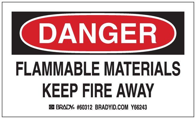 Brady Gas Cylinder Label, Header: DANGER, Legend: FLAMMABLE MATERIALS KEEP