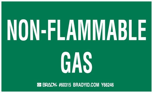 Brady Gas Cylinder Label, Legend: NON-FLAMMABLE GAS Legend: NON-FLAMMABLE
