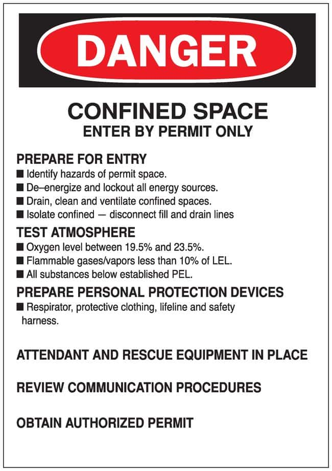Brady Sign: CONFINED SPACE ENTER BY PERMIT ONLY...OBTAIN AUTHORIZED PERMIT:Gloves,