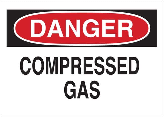 Brady Signs: DANGER: COMPRESSED GAS High impact polystyrene; H x W: 10