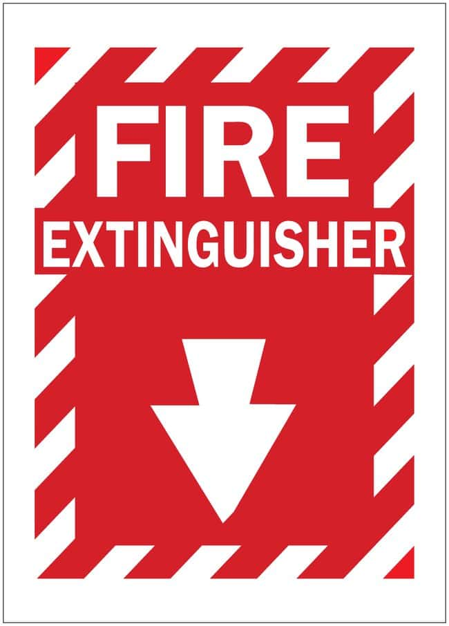 Brady Fire Extinguisher Signs FIRE EXTINGUISHER (w/PICTO); Self Sticking