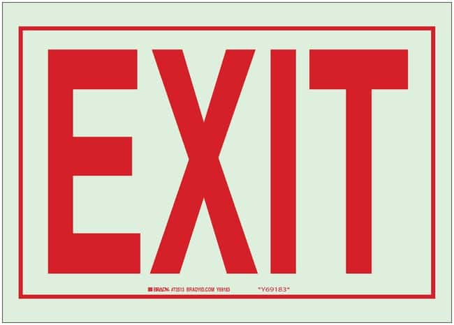 Brady Glow-In-The-Dark Exit and Directional Signs Glow-In-The-Dark Self