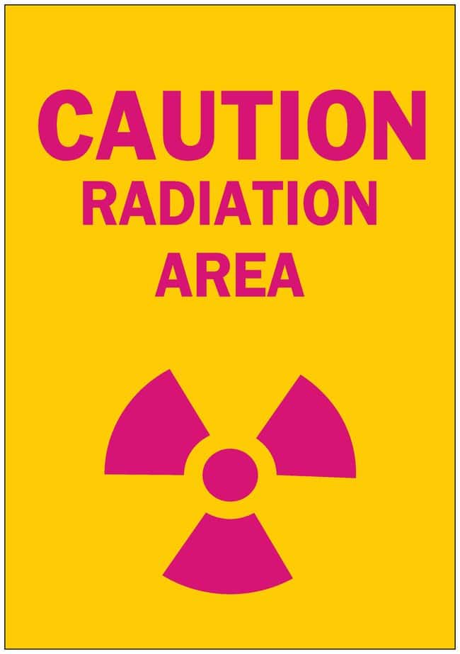 Brady Radiation and Laser Signs CAUTION RADIATION AREA (W/PICTO); Plastic;