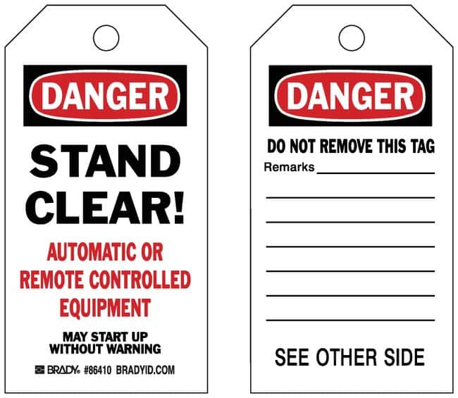 Brady Accident Prevention Tags with Different Fronts and Backs:Gloves,
