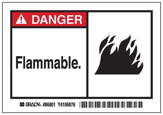 Brady Machine/Equipment Label, Header: DANGER, Legend: FLAMMABLE Header: