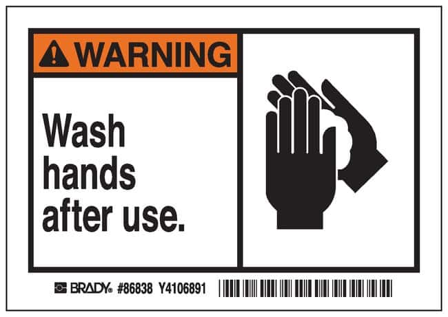 Brady Machine/Equipment Label, Header: WARNING, Legend: Wash hands after