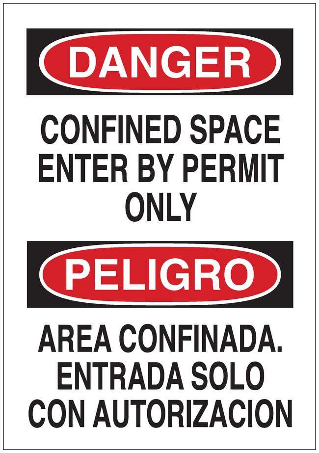 Brady Signs: DANGER: CONFINED SPACE ENTER BY PERMIT ONLY / PELIGRO AREA