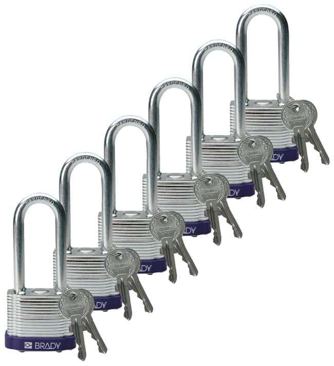 Brady Keyed-Different Steel Padlocks with 2 in. Shackle Locks Purple; 6/Pk.:Gloves,