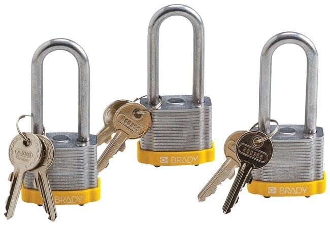 Brady Keyed Alike Steel Padlocks with 2 inch Shackle Locks Yellow; 3/Pk.:Gloves,