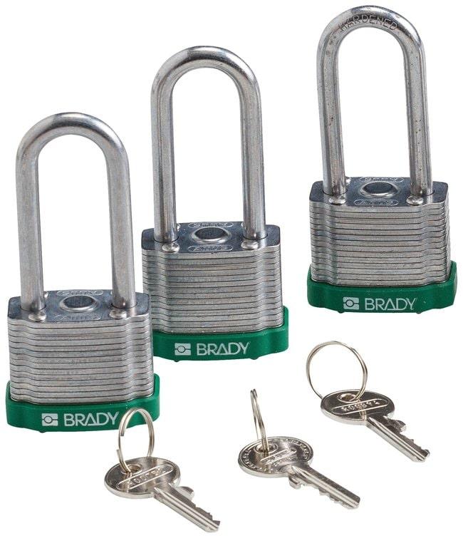 BradyKeyed Alike Steel Padlocks with 2 inch Shackle Locks:Facility Safety