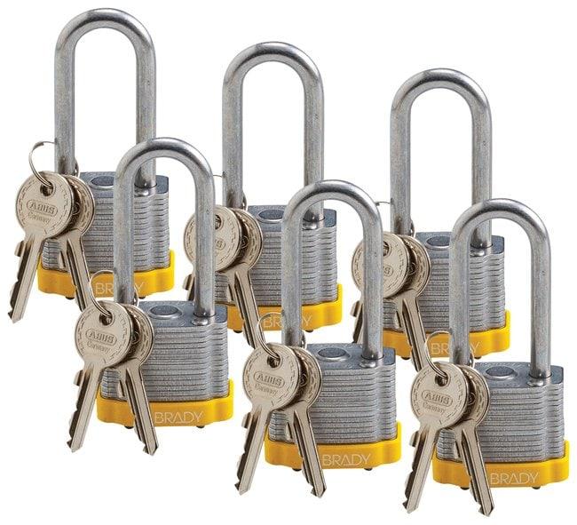 Brady Keyed-Different Steel Padlocks with 2 in. Shackle Locks Yellow; 6/Pk.:Gloves,