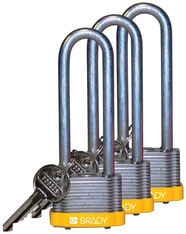 BradyKey Retaining Keyed Alike Steel Padlocks with 3 inch Shackle Locks:Facility