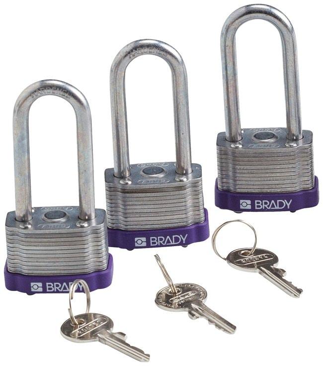 BradyKey Retaining Keyed Alike Steel Padlocks with 2 inch Shackle Locks:Facility