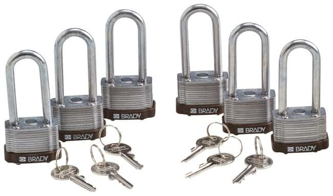 BradyKey Retaining Keyed Different Steel Padlocks with 2 inch Shackle Locks:Facility