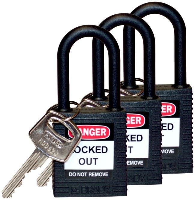 BradyKeyed Alike Nylon Safety Padlocks with 1.5 in. Shackle Locks:Facility