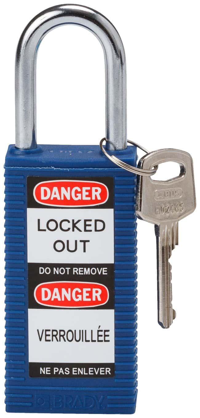 BradyLong Body Keyed-Different Safety Padlocks with 1.5 in. Shackle Locks:Facility