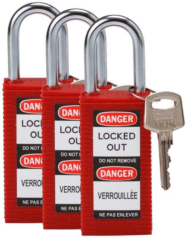 Brady Long Body Keyed Alike Safety Padlocks with 1.5 in. Shackle Locks