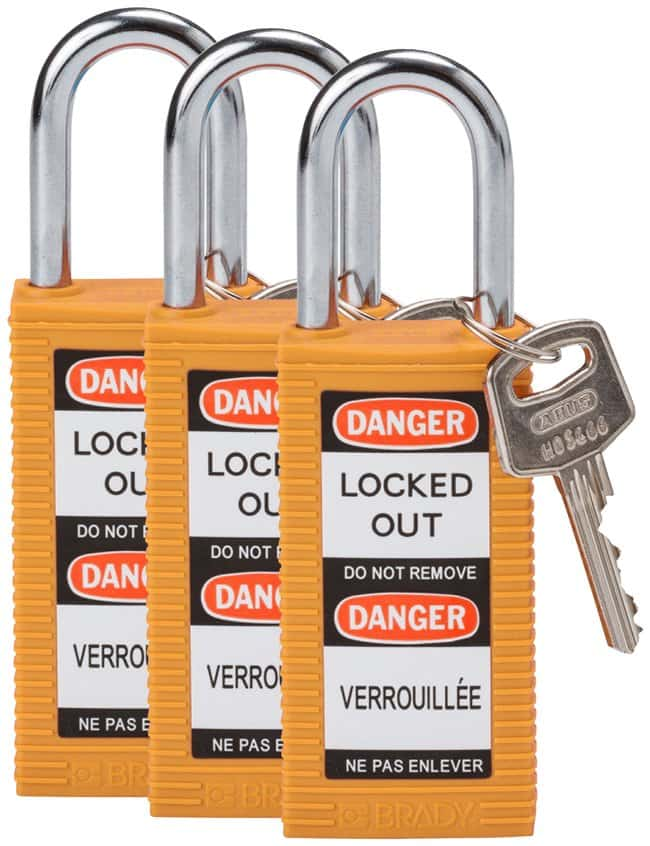 BradyLong Body Keyed Alike Safety Padlocks with 1.5 in. Shackle Locks:Facility