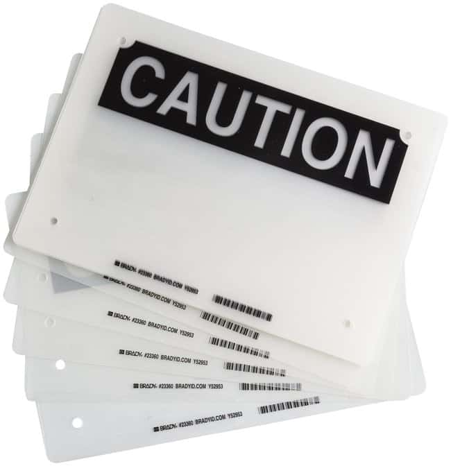 Brady Laminating Pouches, Header: CAUTION:Gloves, Glasses and Safety:Facility