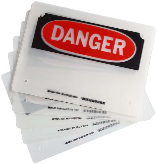 Brady Laminating Pouches, Header: DANGER:Gloves, Glasses and Safety:Facility