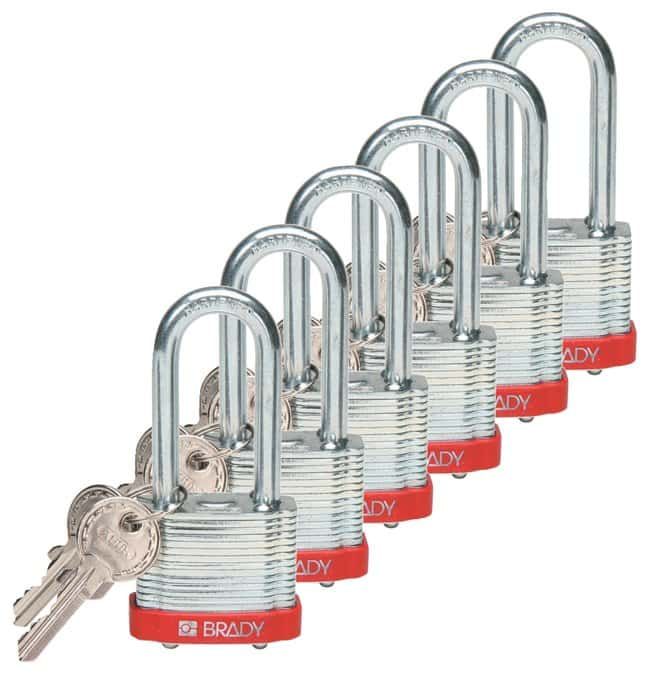 Brady Keyed-Different Steel Padlocks with 2 in. Shackle Locks Red; 6/Pk.:Gloves,