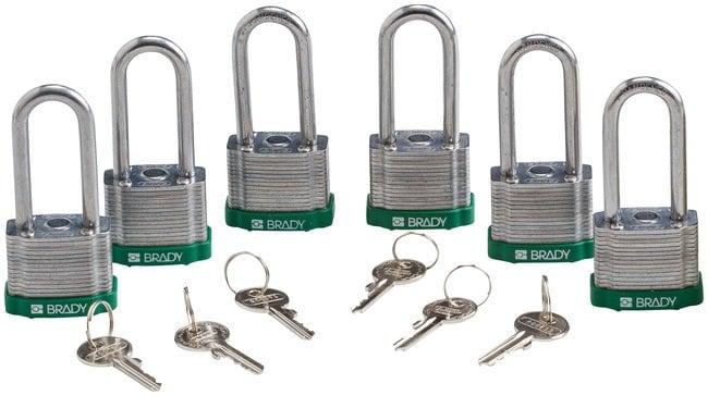 Brady Keyed-Different Steel Padlocks with 2 in. Shackle Locks Green; 6/Pk.:Gloves,