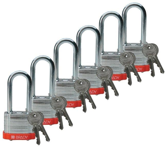 Brady Keyed-Different Steel Padlocks with 2 in. Shackle Locks Orange; 6/Pk.:Gloves,
