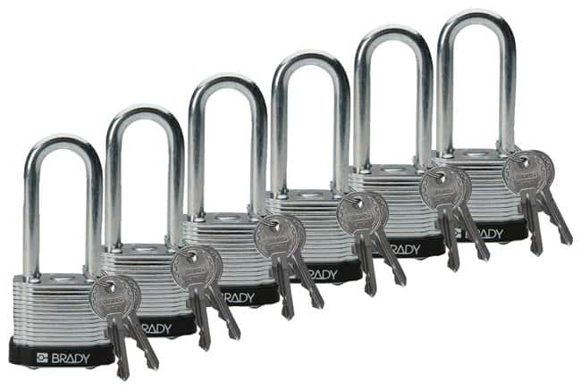 Brady Keyed-Different Steel Padlocks with 2 in. Shackle Locks Black; 6/Pk.:Gloves,