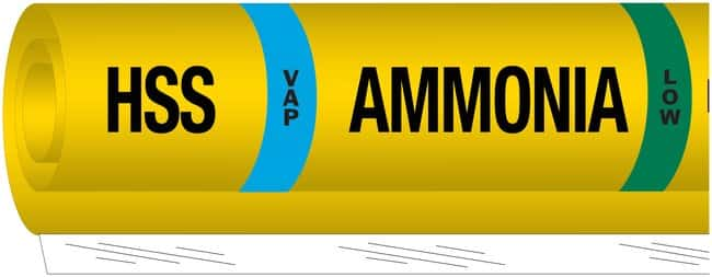 Brady Ammonia (IIAR) Pipe Markers, Legend: HSS/VAP/Ammonia/LOW:Gloves,