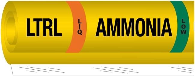 Brady Ammonia (IIAR) Pipe Markers, Legend: LTRL/LIQ/Ammonia/LOW:Gloves,