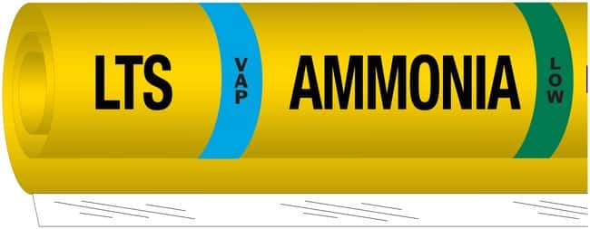 Brady Ammonia (IIAR) Pipe Markers, Legend: LTS/VAP/Ammonia/LOW PVF over-laminated