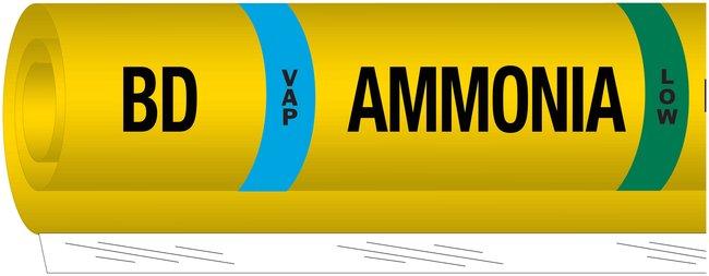 Brady Ammonia (IIAR) Pipe Markers, Legend: BD/VAP/Ammonia/LOW:Gloves, Glasses