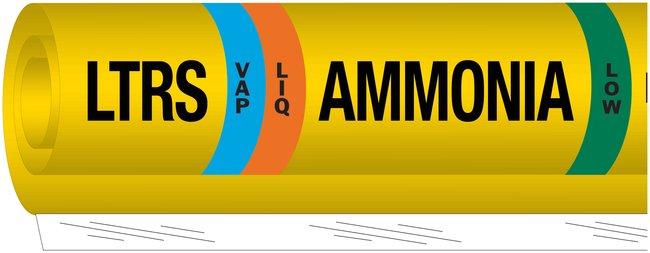 Brady Ammonia (IIAR) Pipe Markers, Legend: LTRS/VAP/Ammonia/LOW:Gloves,