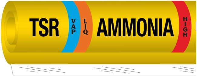 Brady Ammonia (IIAR) Pipe Markers, Legend: TSR/LIQ/Ammonia/HIGH:Gloves,