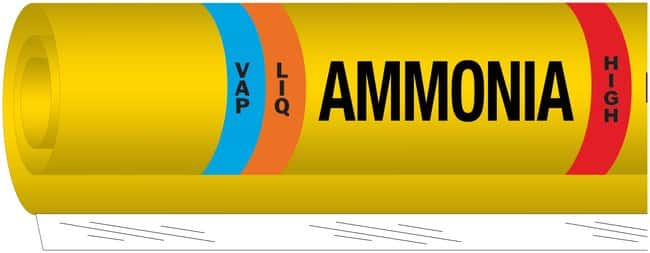 Brady Ammonia (IIAR) Pipe Markers, Legend: LIQ/VAP/Ammonia/HIGH:Gloves,