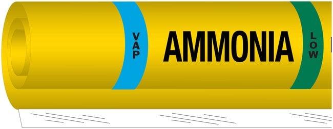 Brady Ammonia (IIAR) Pipe Markers, Legend: VAP/Ammonia/LOW:Gloves, Glasses