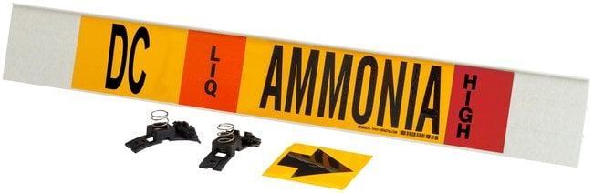 Brady Ammonia (IIAR) Pipe Markers, Legend: DC/LIQ/Ammonia/HIGH:Gloves,