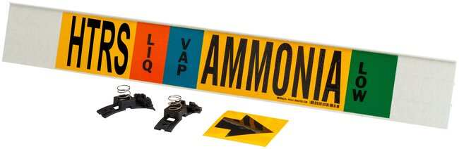 Brady Ammonia (IIAR) Pipe Markers, Legend: HTRS/VAP/Ammonia/LOW:Gloves,