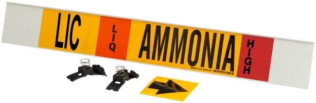 Brady Ammonia (IIAR) Pipe Markers, Legend: HPHV/LIC/LIQ/Ammonia/HIGH:Gloves,
