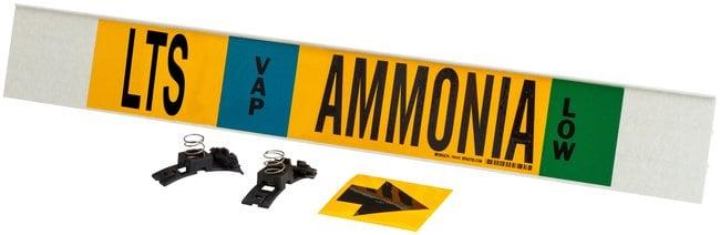 Brady Ammonia (IIAR) Pipe Markers, Legend: LTS/VAP/Ammonia/LOW Polyester