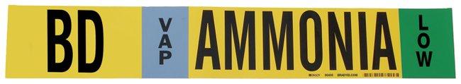 Brady Ammonia (IIAR) Pipe Markers, Legend: BD/VAP/LOW/Ammonia, B-946 Self-Sticking