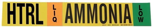 Brady Ammonia (IIAR) Pipe Markers, Legend: HTRL/LIQ/LOW/Ammonia, B-946