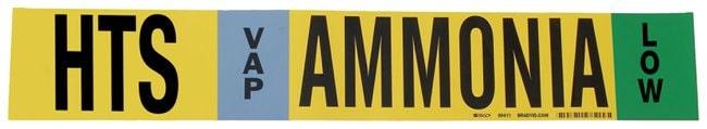Brady Ammonia (IIAR) Pipe Markers, Legend: HTS/VAP/LOW/Ammonia, B-946 Self-Sticking