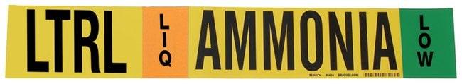 Brady Ammonia (IIAR) Pipe Markers, Legend: LTRL/LIQ/LOW/Ammonia, B-946