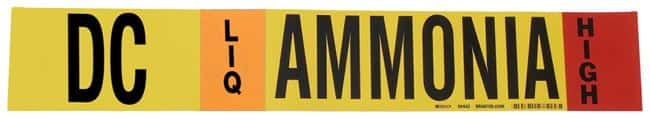 Brady Ammonia (IIAR) Pipe Markers, Legend: DC/LIQ/HIGH/Ammonia, B-946 Self-Sticking