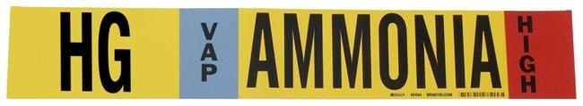 Brady Ammonia (IIAR) Pipe Markers, Legend: HG/VAP/HIGH/Ammonia, B-946 Self-Sticking