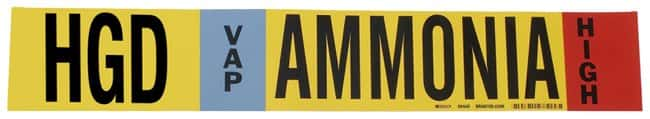 Brady Ammonia (IIAR) Pipe Markers, Legend: HGD/VAP/Ammonia/HIGH:Gloves,