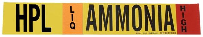 Brady Ammonia (IIAR) Pipe Markers, Legend: HPL/LIQ/HIGH/Ammonia, B-946
