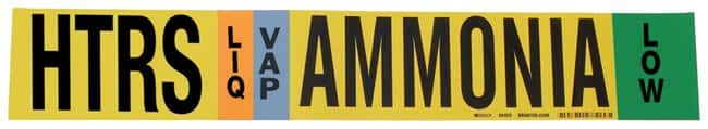 Brady Ammonia (IIAR) Pipe Markers, Legend: HTRS/LIQ/VAP/LOW/Ammonia, B-946